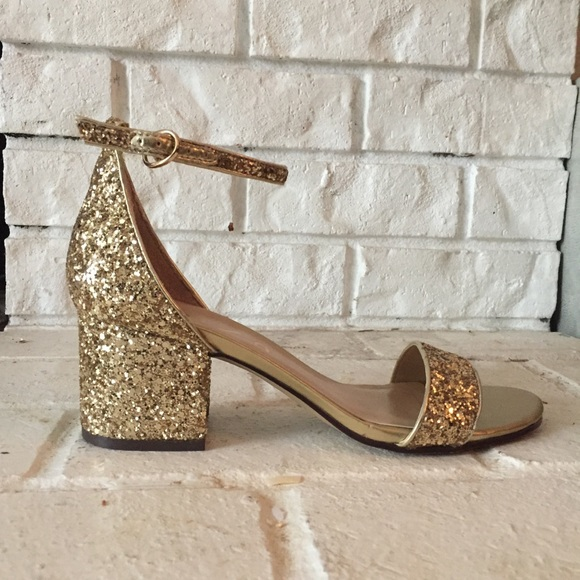 ff0a6024425e Unisa Shoes | Gold Sparkle Chunky Heel Sandal | Poshmark